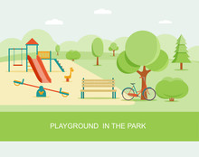 Flat Style Playground In Park....