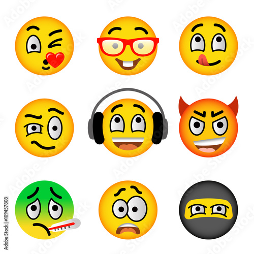 Smiley Face Flat Vector Icons Set Emoji Emoticons Facial Emotions