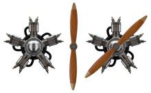 3d Star Engine Wtih Old Wooden...