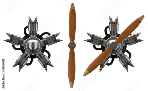 Photo 3d star engine wtih old wooden propeller