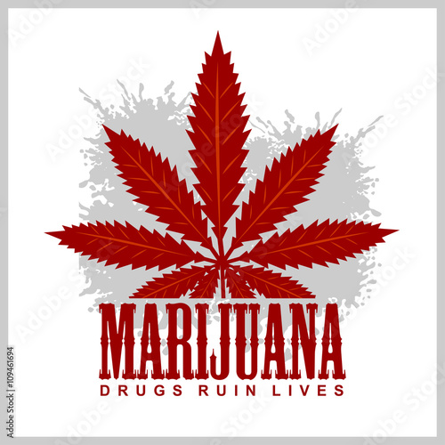 Fotografie, Obraz  Cannabis - marijuana leaf on grunge background for prints and tshirts