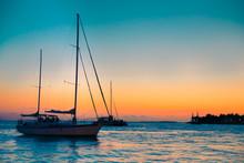 Sailboat At Key West Florida At Sunset