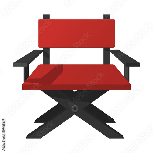 director chair flat icon with long shadow for web