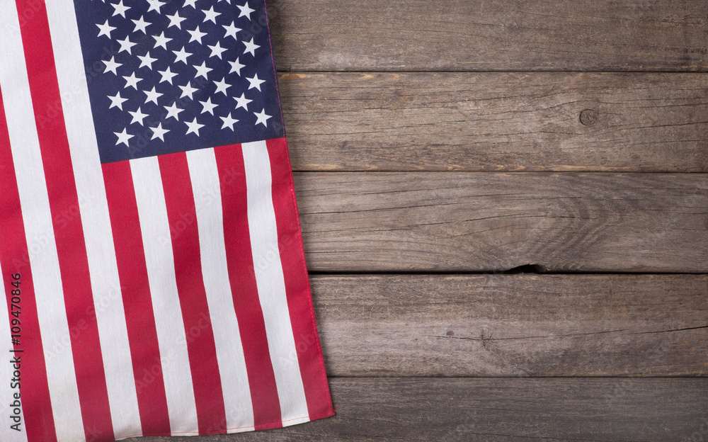 Fototapety, obrazy: United States Flag on Wooden Background with Copy Space