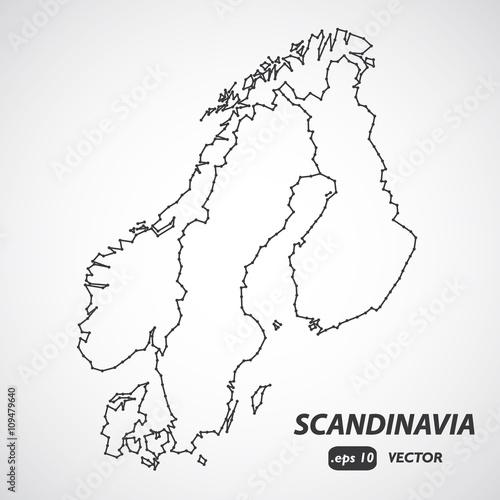 Scandinavia borders map, scandinavia map vector, Denmark, Norway, Sweden and Fin Fototapet