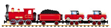 Red Cargo Train With Old Cars,...