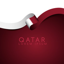 Qatar Flag Ribbon : Vector Ill...