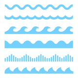 Vector blue wave icons set