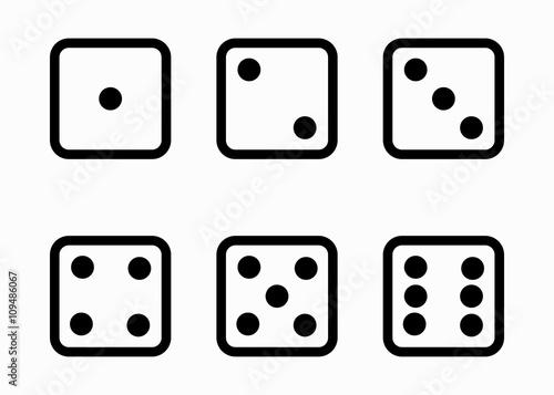 Vector black line dice cubes icons set Fototapete