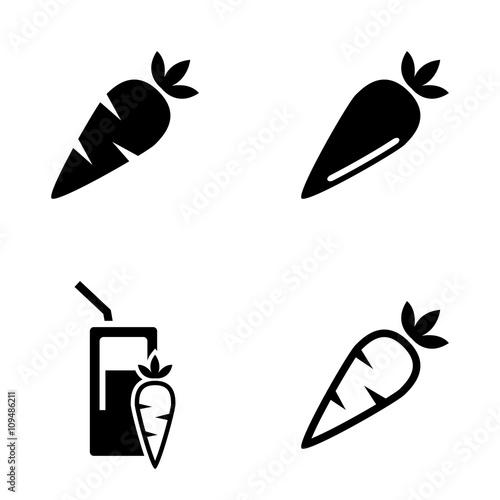 Obraz Vector black carrot, carrot meals icons set - fototapety do salonu