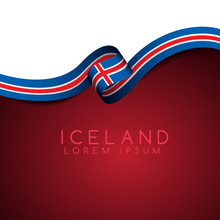 Iceland Flag Ribbon : Vector Illustration