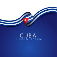 Cuba Flag Ribbon : Vector Illustration
