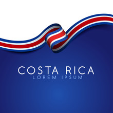 Costa Rica Flag Ribbon : Vector Illustration