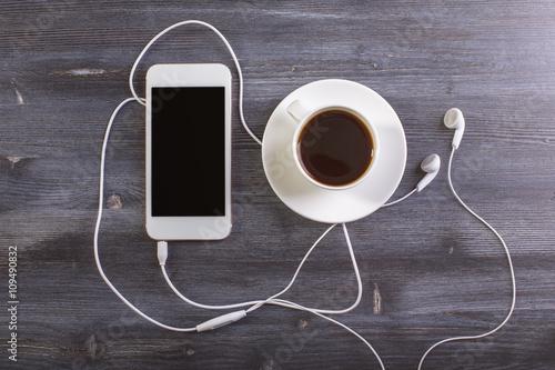 Fototapeta Coffee and cellphone top obraz na płótnie