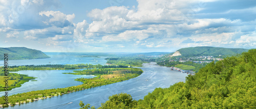 Valokuvatapetti Amazing panoramic view from the height on the touristic part of the Volga river near Samara city at summer sunny day