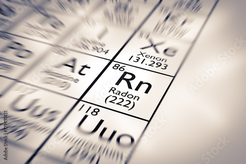 Focus on Radon Chemical Element from the Mendeleev Periodic Table Tapéta, Fotótapéta