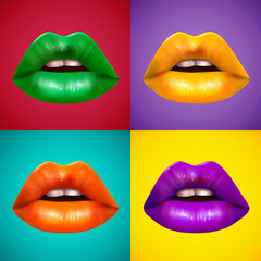 Fototapeta Erotyka Bright Colored Lips 4 Icons Poster