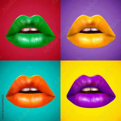 Bright Colored Lips 4 Icons Poster - 109492211