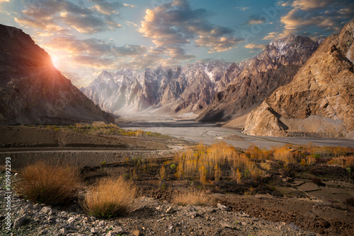 Spoed Foto op Canvas Heuvel Beautiful landscape of Pasu, Pakostan during sunset.