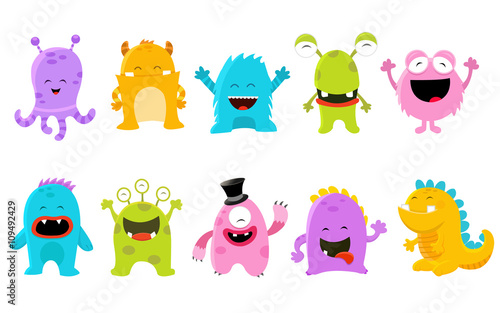 Cute Monster Set Fototapet
