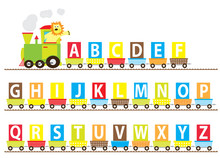 Abc Learning Cartoon Train With A Smiling Lion / Vectors Letters  A-z Set For Children
