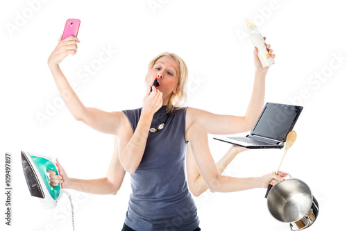 74e569cacf5 Woman in a multitasking mode. Isolated