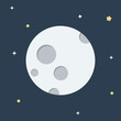 Moon flat design icon. Moon vector. Moon with dark night and star background. Lunar vector Illustration. Full Moon.