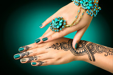 Woman's Hands With Mehndi Tatt...