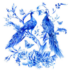 FototapetaVintage blue pair of peacocks with watercolor roses