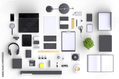 Fotografía  Set of variety blank office objects