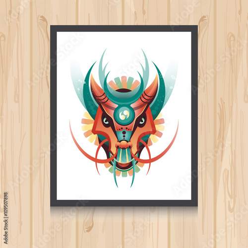 Geometric Vector Dragon Concept On Wooden Background Vector