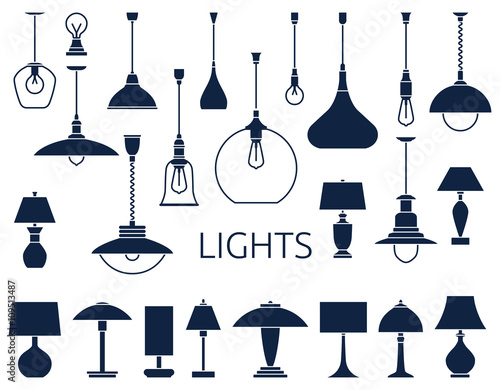 Photo  Vector icons of lamps