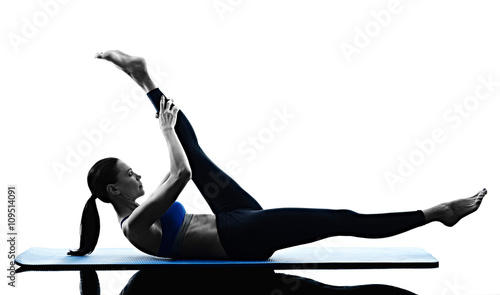 Photo  woman pilates exercises fitness isolated