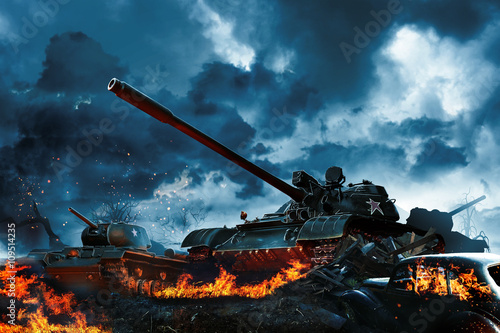 Three tanks in a burning field Fototapet
