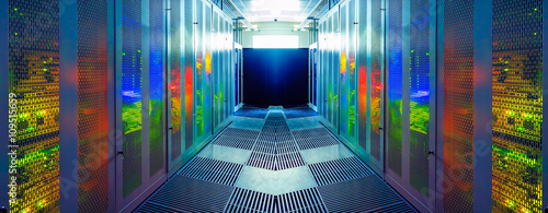 Fotografia server room with modern communication and server equipment