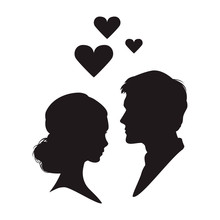 Silhouette Of The Woman And Ma...