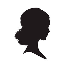 Silhouette Of The Woman On Whi...