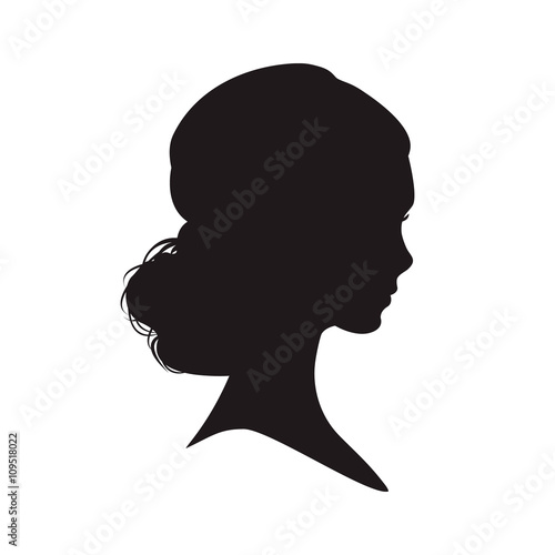 Láminas  Silhouette of the woman on white background.