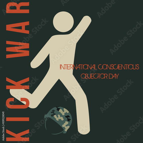 Fotografie, Obraz  International conscientious objector day vector minimal concept idea