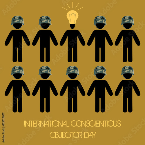 Fotografie, Obraz  International conscientious objector day vector minimal concept idea