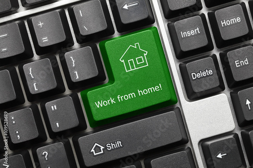 Conceptual keyboard - Work from home (green key) Poster