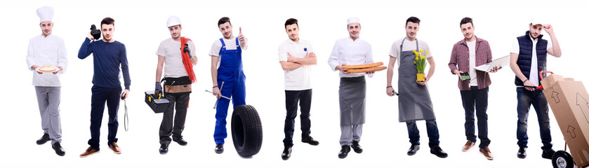 handsome same young man doing various jobs in different professional outfit
