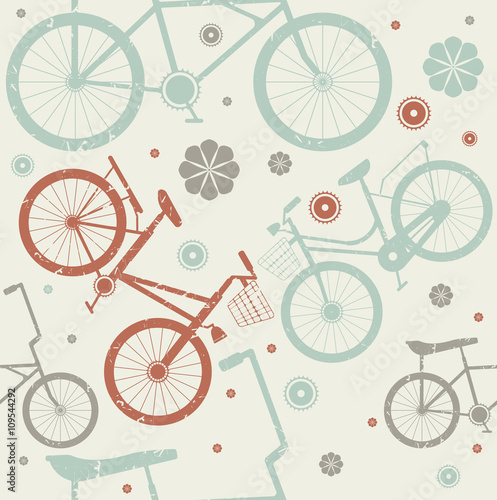 Fotobehang Kranten Seamless pattern with retro bicycles and flowers on ivory backg