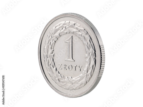 Fotografía  One Polish Zloty coin isolated on white with clipping path