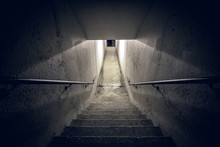 Staircase In The Dark Tunnel A...