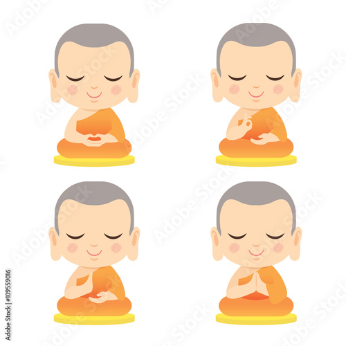 Set Of Cute Monk With Different Hand Gesture Cartoon Vector