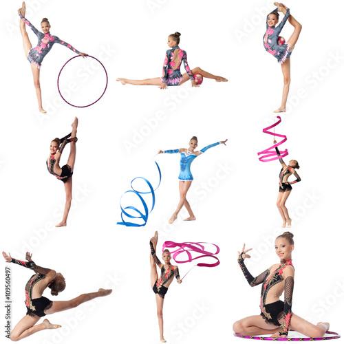 Tuinposter Gymnastiek Photo collage. Artistic gymnast posing at camera