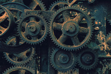 Old Machine With Cogs And Gear...