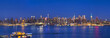 Night time panoramic mid town Manhattan skyline, New York, USA