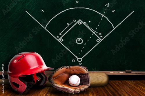 Plakat Sprzęt do baseballu i strategia Chalk Board Play